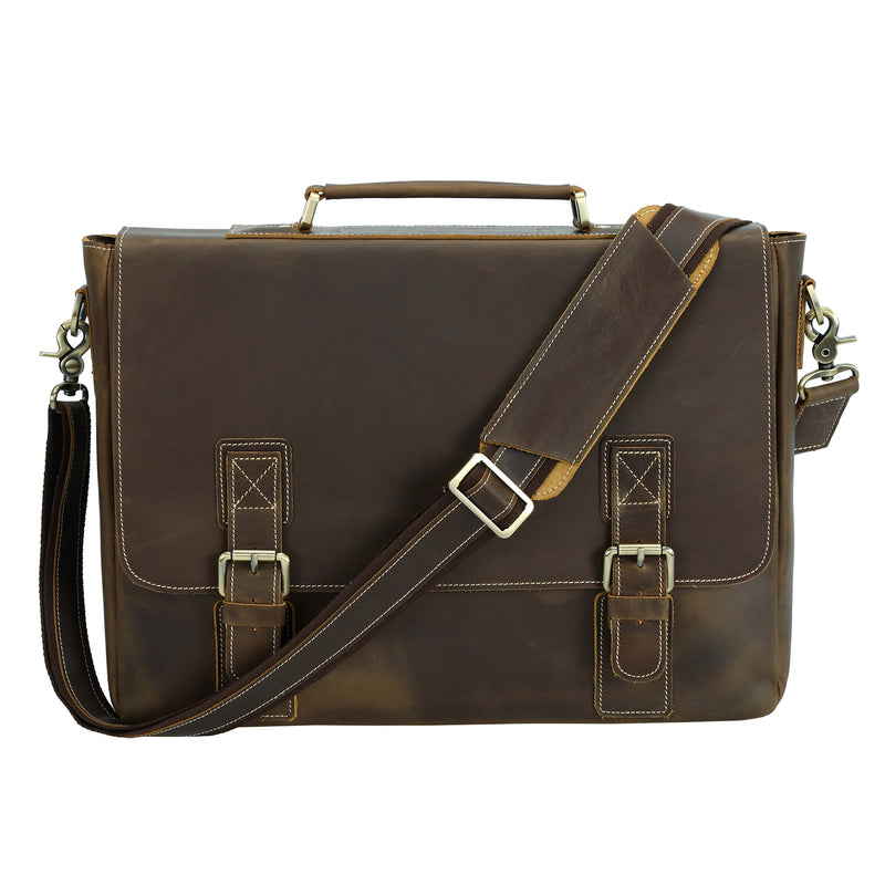 Polare Vintage Leather Messenger Bag(Dark Brown, Front)