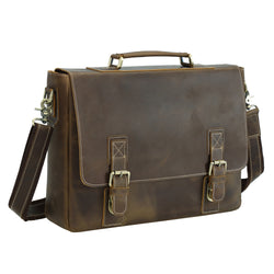 Polare Vintage Leather Messenger Bag (Dark Brown)