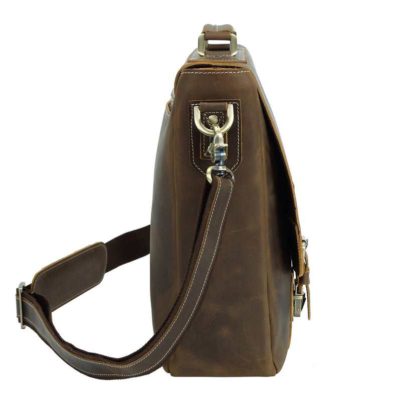 Polare Vintage Leather Messenger Bag(Dark Brown, Profile)