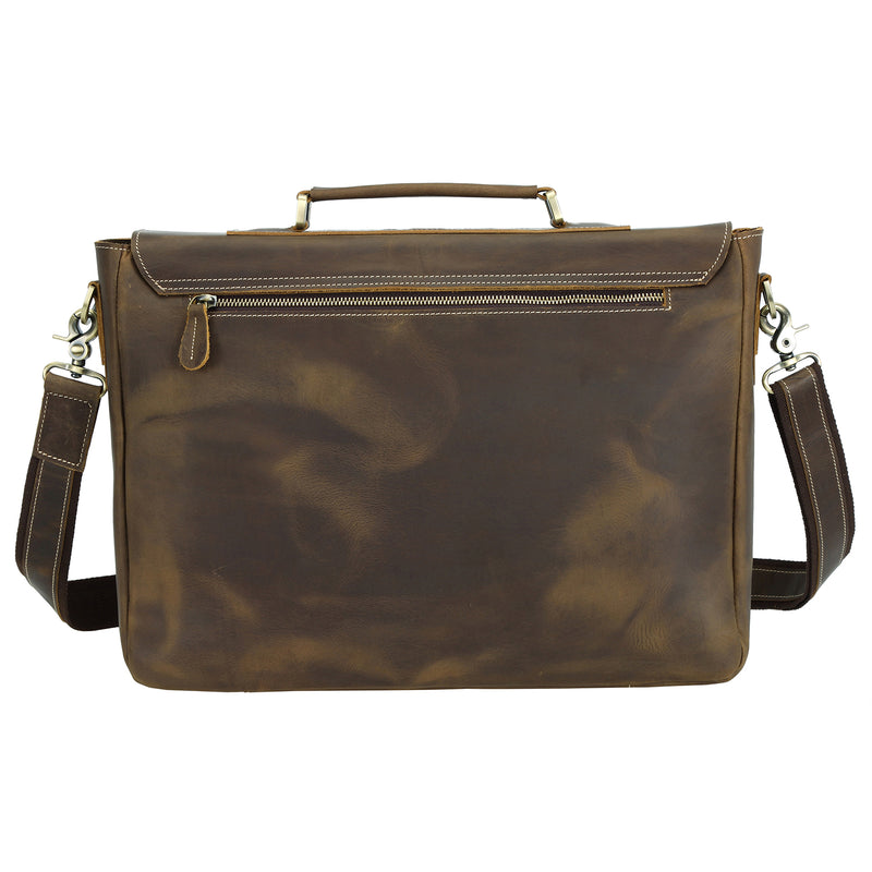 Polare Vintage Leather Messenger Bag(Dark Brown, Back)