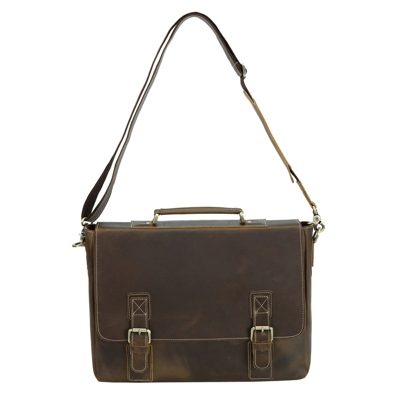 Polare Vintage Leather Messenger Bag(Dark Brown, Strap)