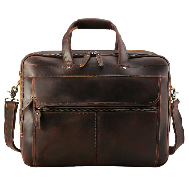 "Polare Full Grain Leather 17.3"" Laptop Business Briefcase (Front)"