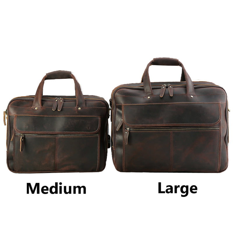 "Polare Full Grain Leather 17.3"" Laptop Business Briefcase (Model Comparison)"