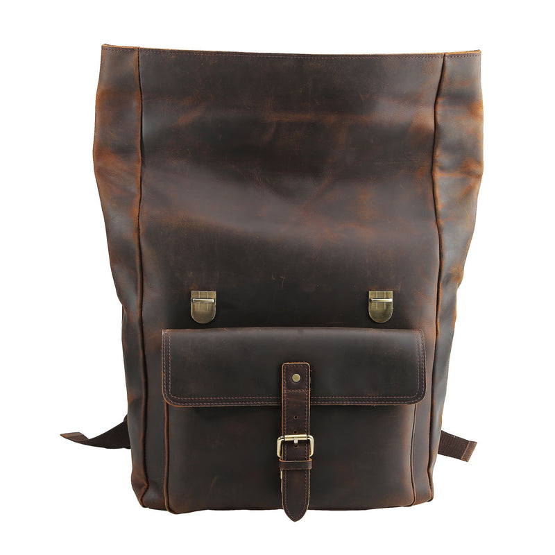 "Polare Retro Full Grain Leather 17"" Laptop Backpack Travel Bag Large Capacity (Front)"