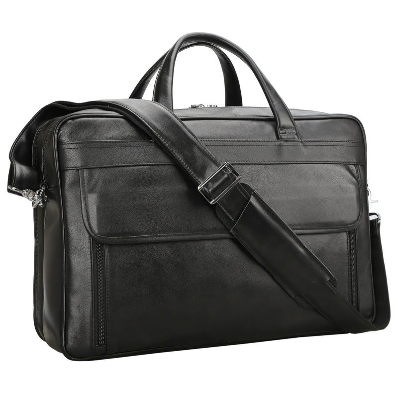 Polare 17'' Briefcase Shoulder Messenger Business Bag (Black)