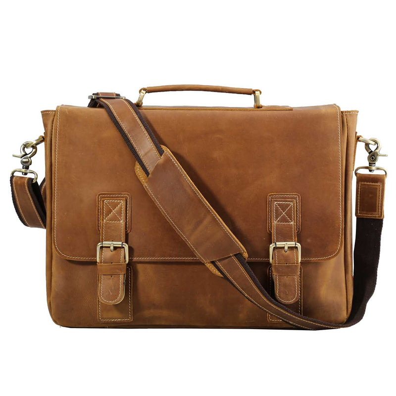 Polare Vintage Leather Messenger Bag (Light Brown)