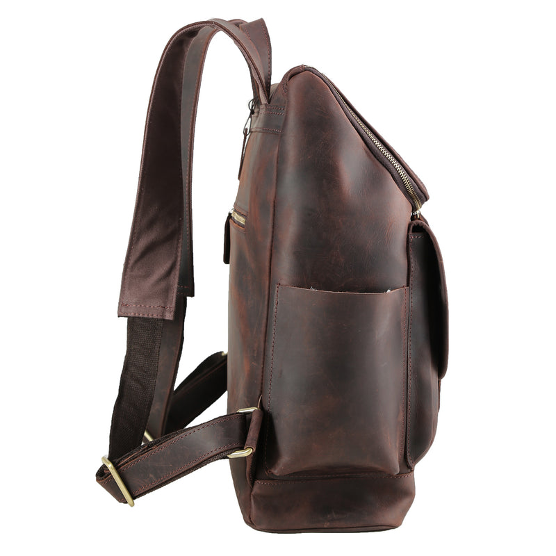 "Polare Rustic Full Grain Leather 15.6"" Laptop Backpack Travel bag Schoolbag Adventure bag with YKK Metal Zippers"