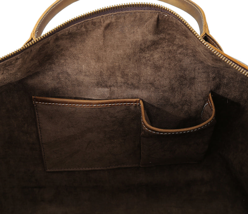 "Polare 20"" Leather Duffel Bag Overnight Weekender Bag (Detail)"