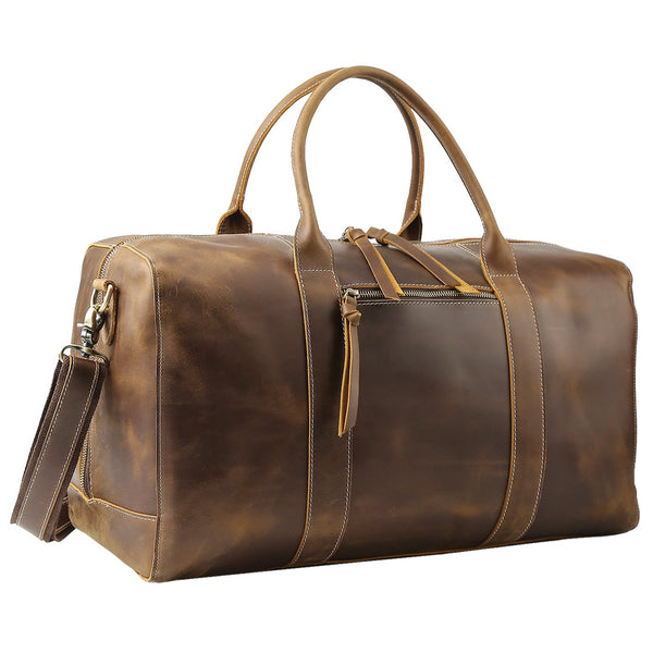 "Polare 20"" Leather Duffel Bag Overnight Weekender Bag"