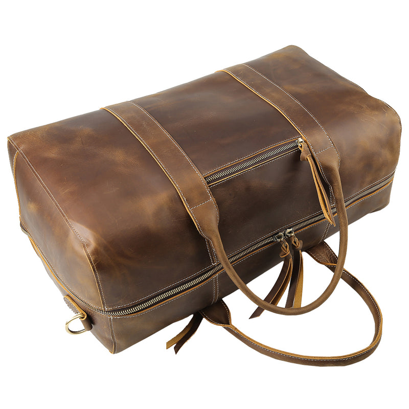 "Polare 20"" Leather Duffel Bag Overnight Weekender Bag (Top)"