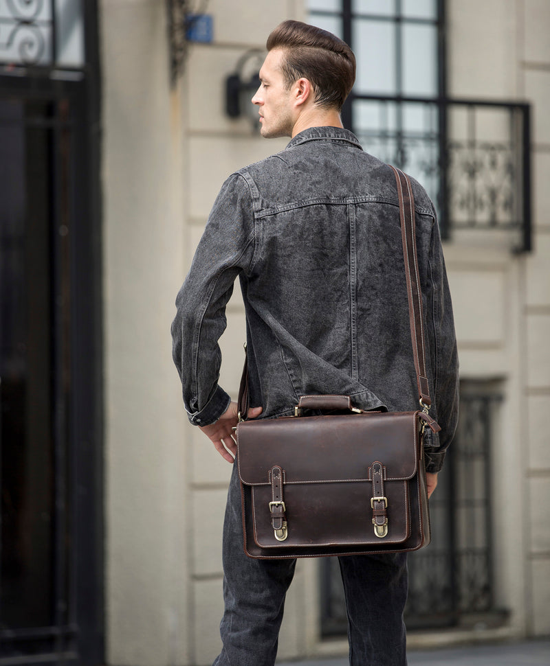 Polare Full Grain Leather Laptop Briefcase Messenger Bag (Dark Brown)