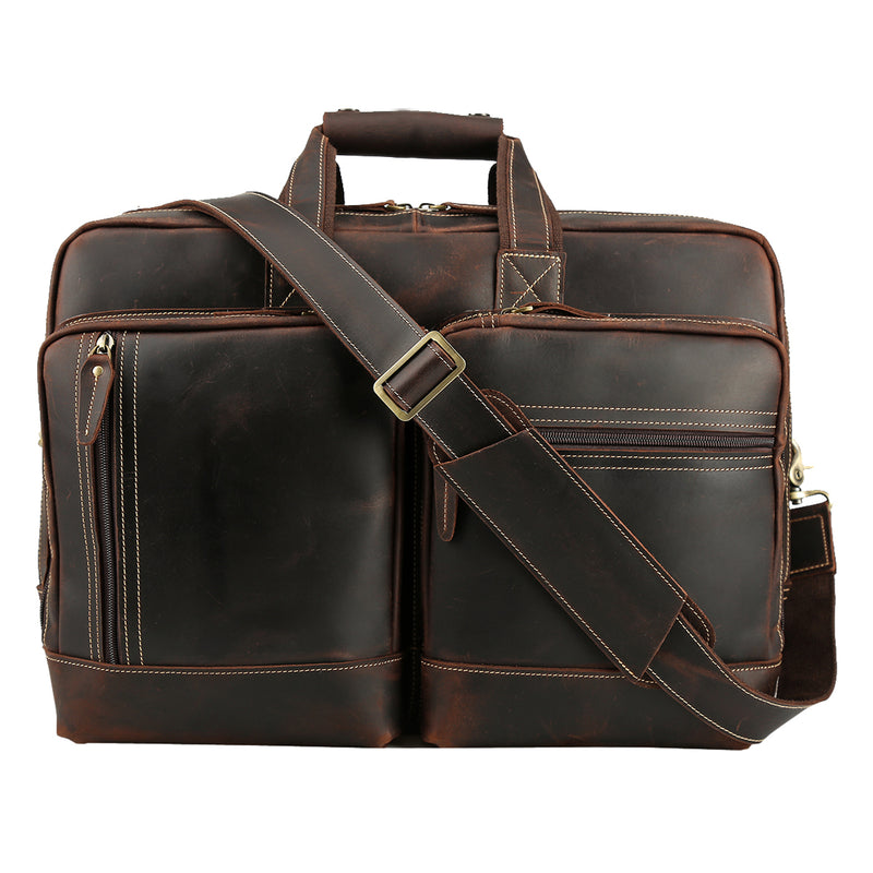 Polare Full Grain Leather 16.5'' Expandable Business Briefcase (Front)