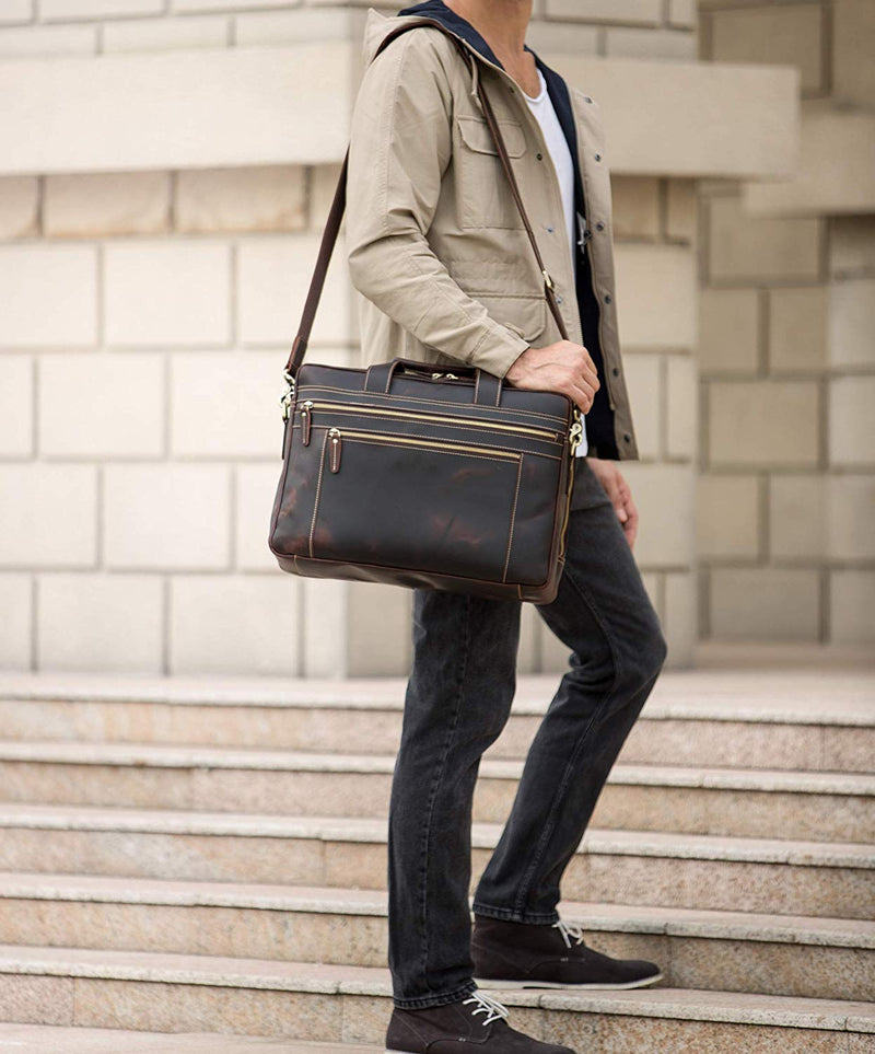"Polare 17"" Full Grain Leather Briefcase Laptop Bag"