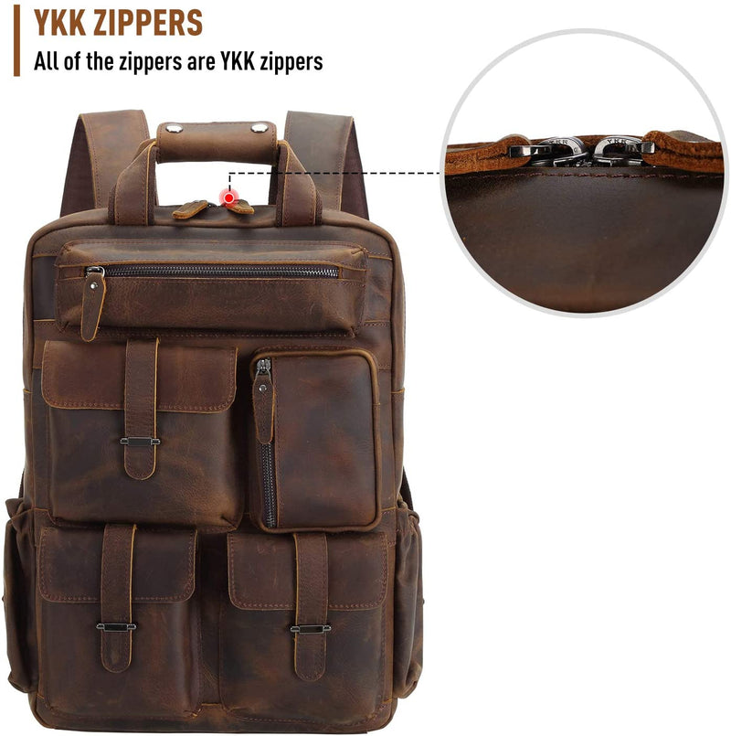 Polare Cowhide Leather Multiple Laptop Backpack (Dark Brown, YKK Zippers)