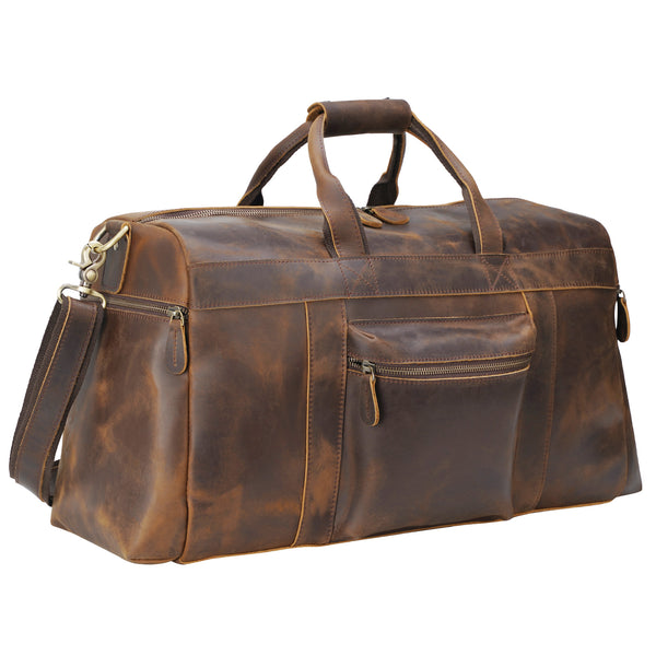"Polare 20"" Full Grain Leather Weekender Duffle Bag"