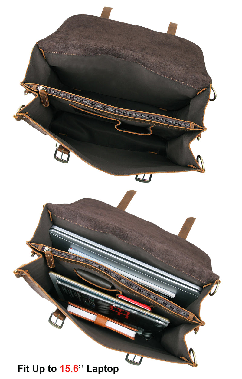 Polare Leather Messenger Bag Casual Designer Travel Briefcase (Inside)