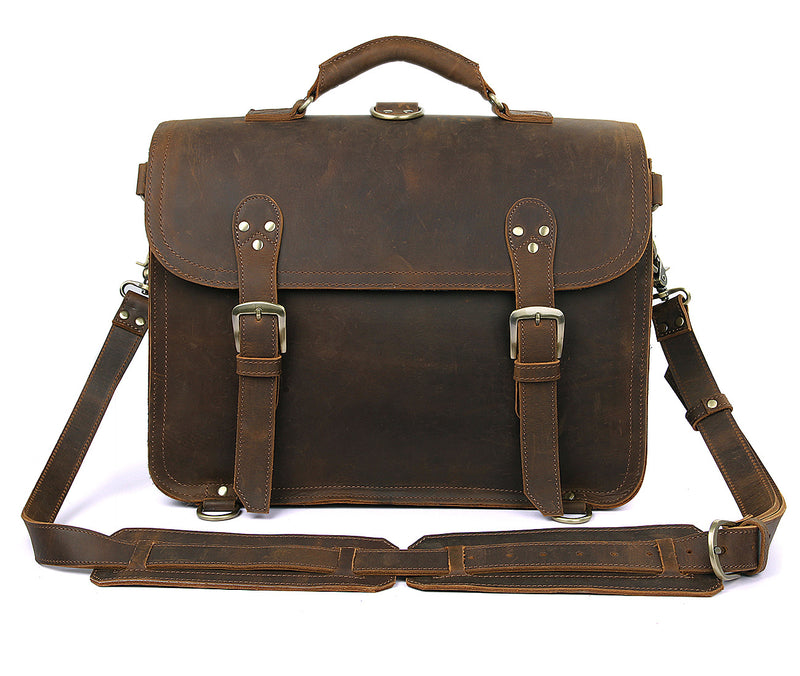 Polare Leather Messenger Bag Casual Designer Travel Briefcase (Front)