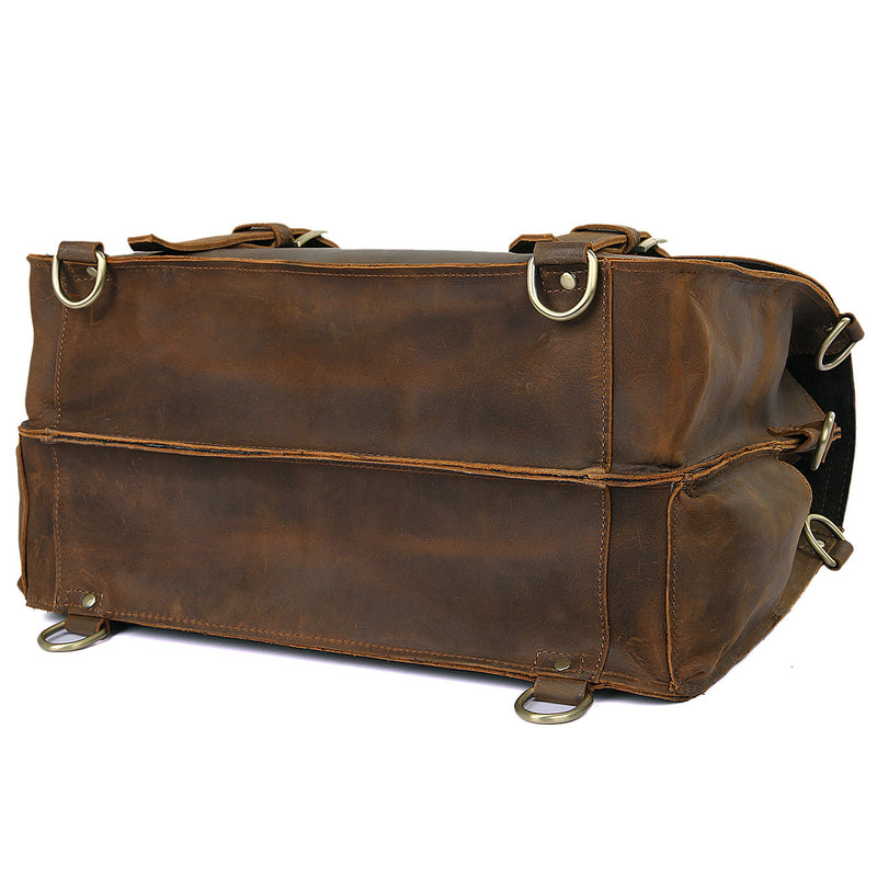 Polare Leather Messenger Bag Casual Designer Travel Briefcase (Bottom)