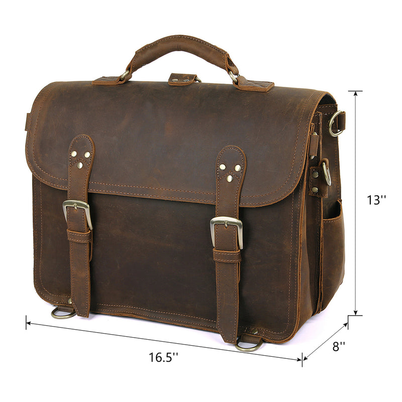 Polare Leather Messenger Bag Casual Designer Travel Briefcase (Dimension)