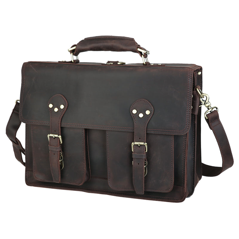 Polare Full Grian Leather Briefcase Messenger Bag