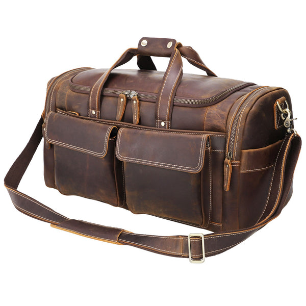 "Polare 22.8"" Duffel Retro Leather Gym Weekender Bag (Brown)"