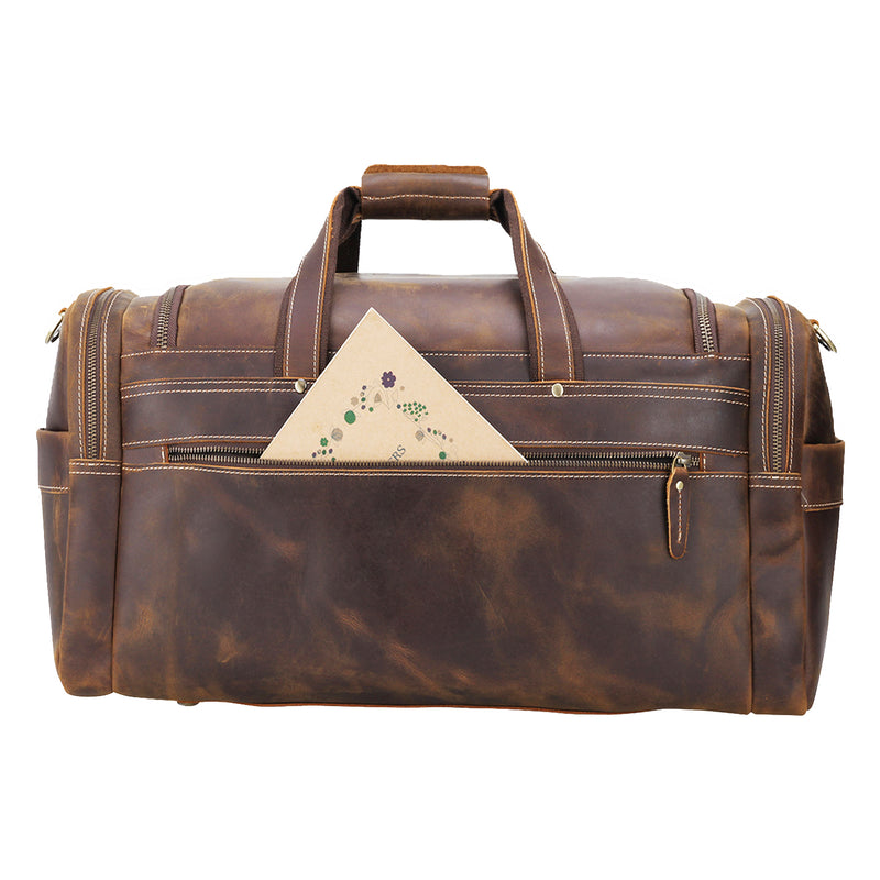 "Polare 22.8"" Duffel Retro Leather Gym Weekender Bag (Brown, Back)"