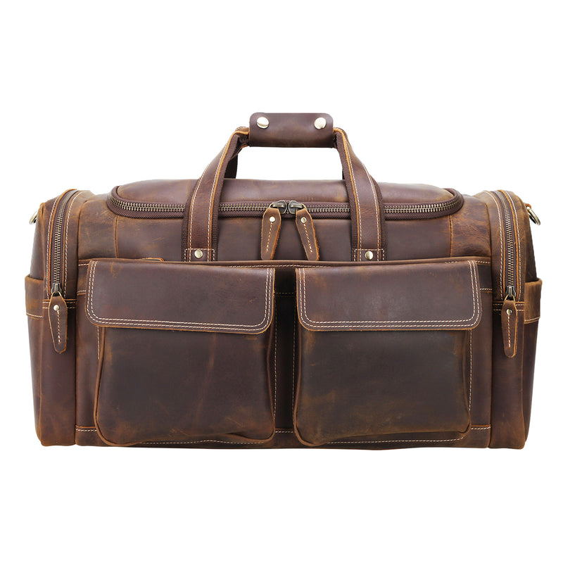 "Polare 22.8"" Duffel Retro Leather Gym Weekender Bag (Brown, Front)"