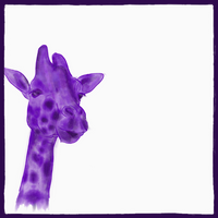 Square white bandana with a watercolor purple giraffe.