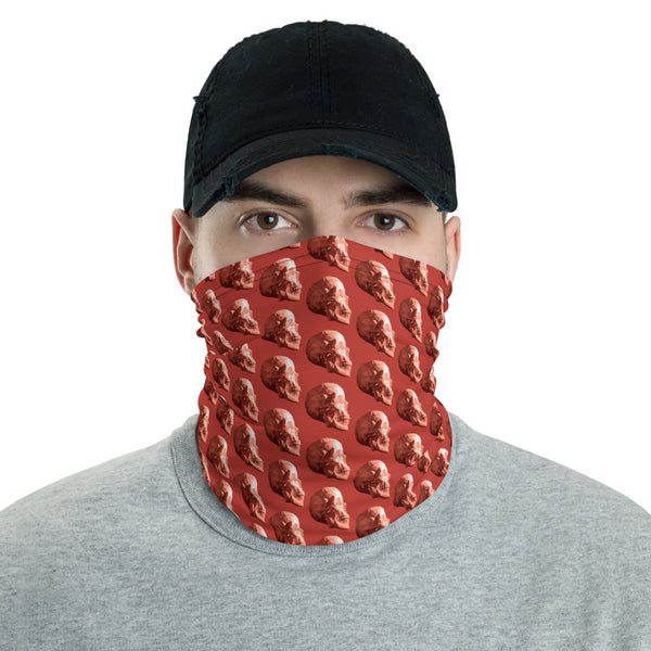 Red Skull Face Covering - mask, infinity scarf, gaiter, shawl, headband, bandana