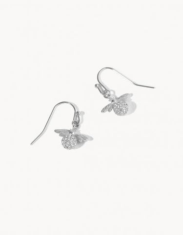 Delicate Sparkly Bee Drop Earrings