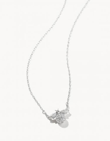 Delicate Sparkly Bee Necklace - Silver
