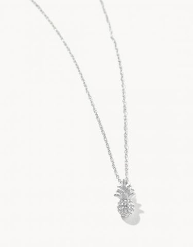 Delicate Sparkly Pineapple Necklace - Silver