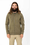 super.natural m essential zip hoodie tuote olive night melange värissä