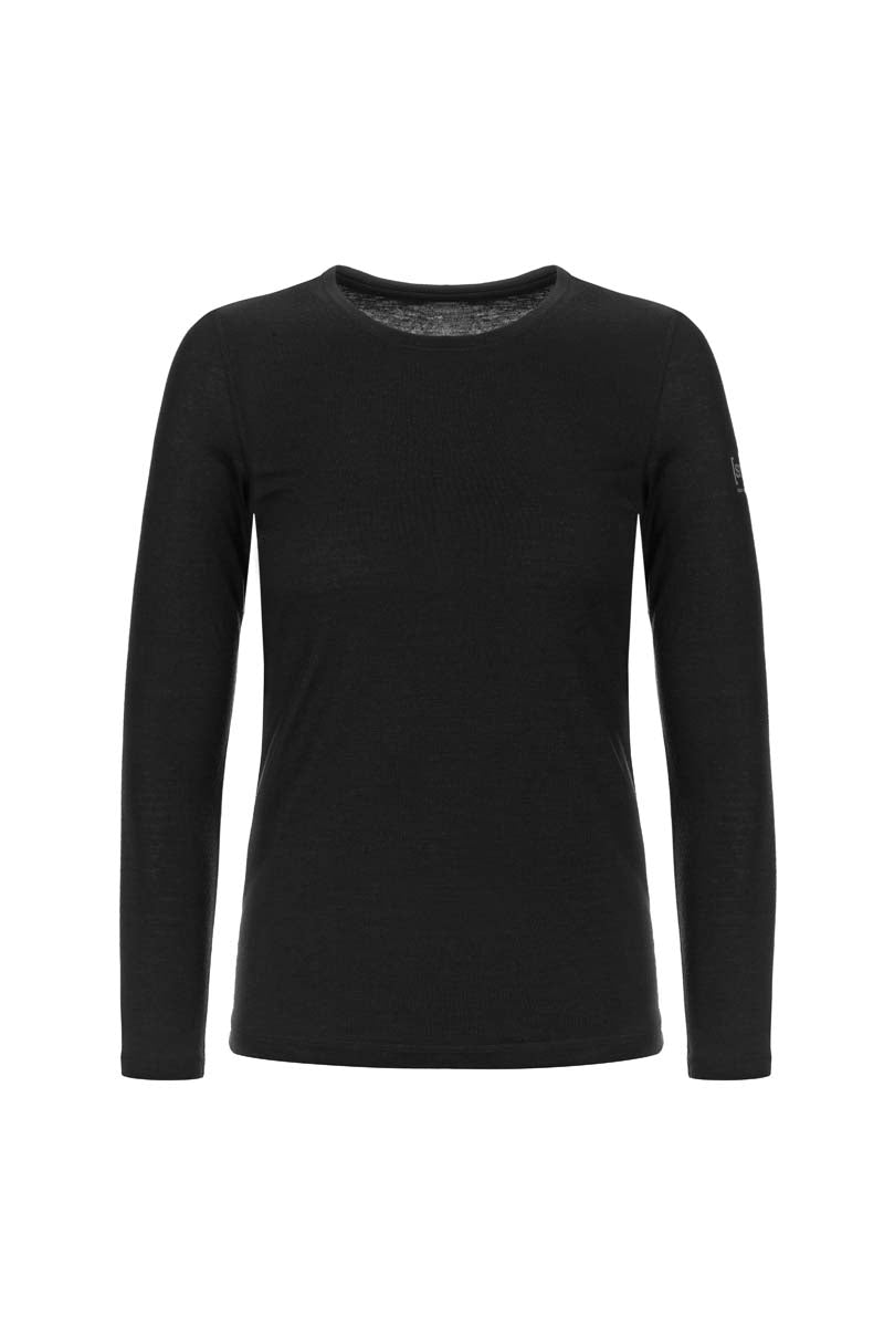 super.natural w base crew neck 230 tuote jet black värissä