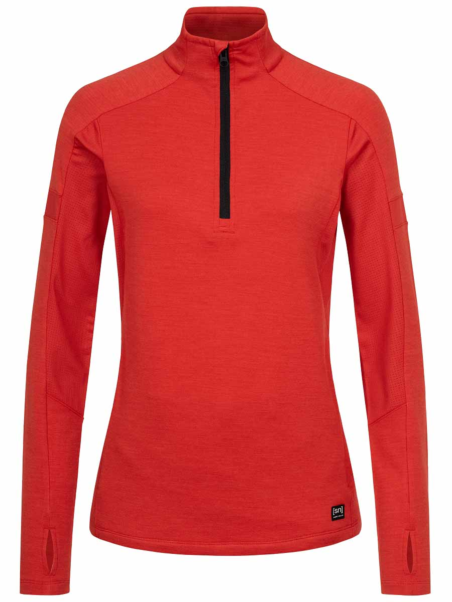super.natural w motion 1/4 zip tuote high risk red värissä