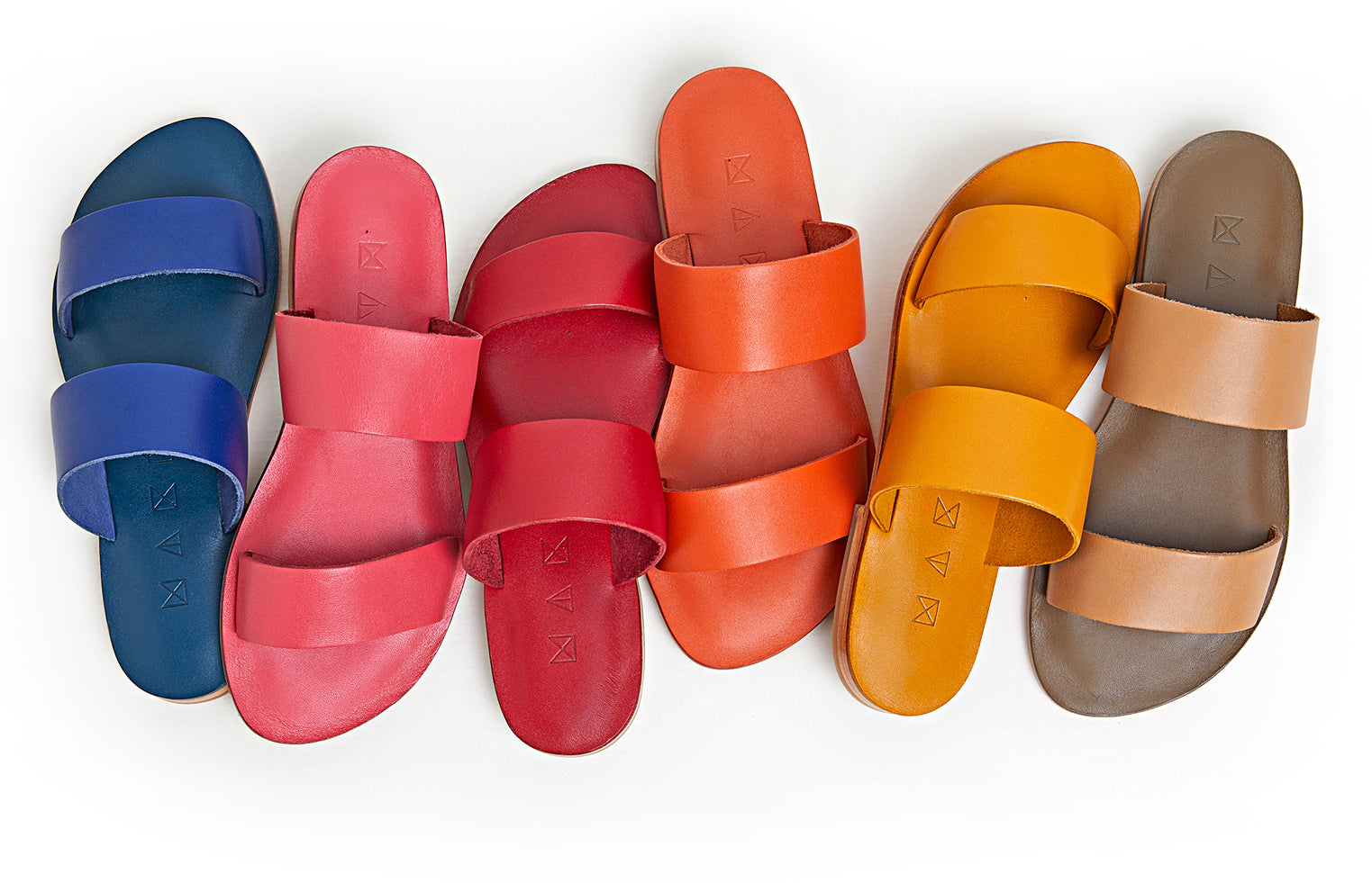 Many colours of the Maki Sandals displayed side by side.