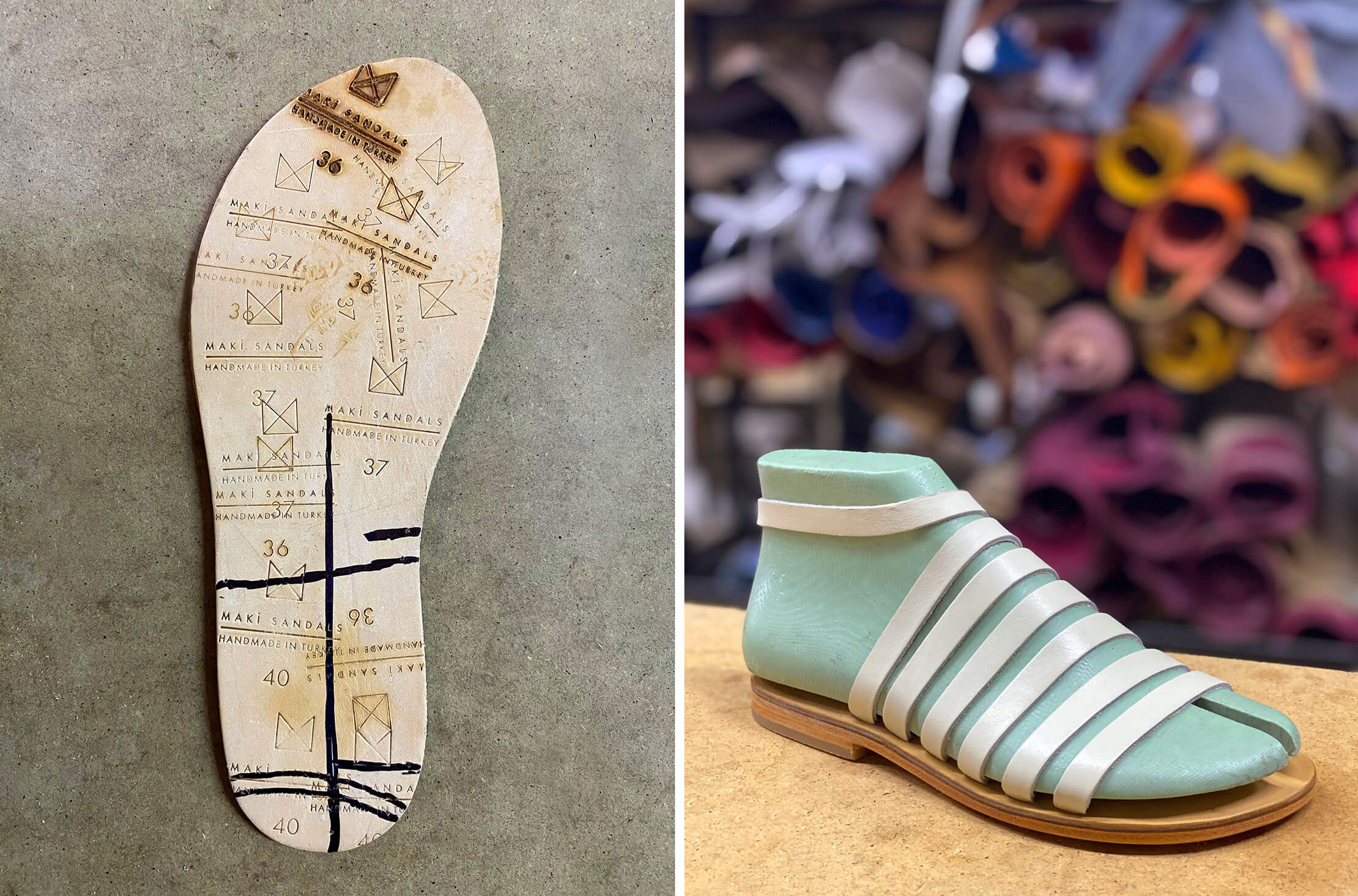 Stamp trials of the Maki Sandals logo under the sole and the sandal displayed on a shoe last.