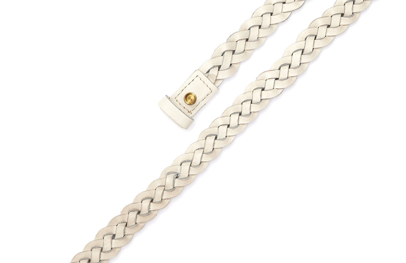 Top view of the hand braided Ivy women's leather belt in cream / CREAM