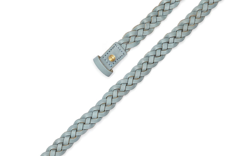 Top view of the hand braided Ivy women's leather belt in light grey / GREY