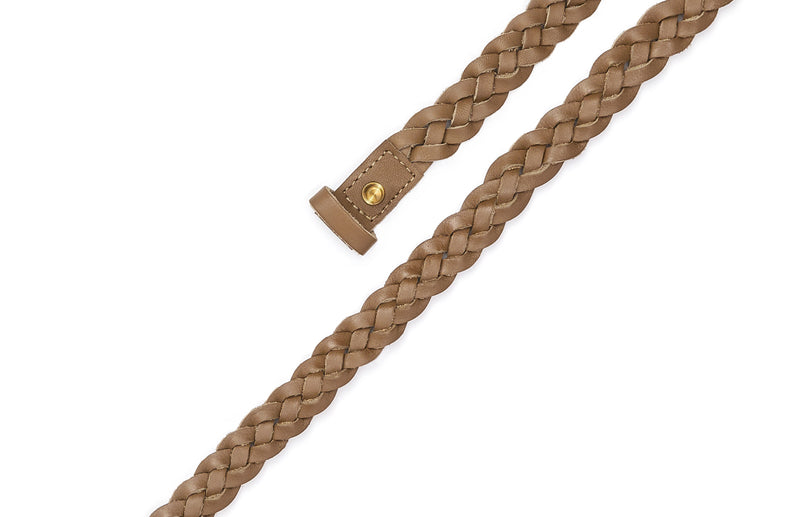 Top view of the hand braided Ivy women's leather belt in olive / OLIVE