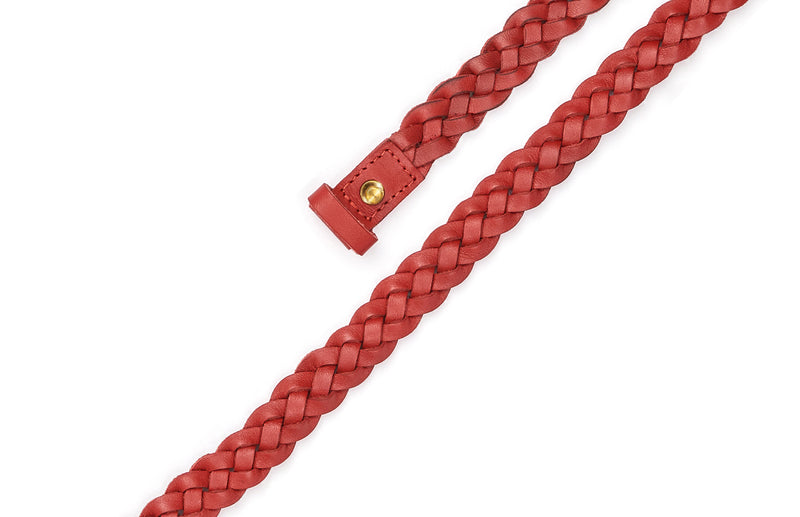 Top view of the hand braided Ivy women's leather belt in red / RED