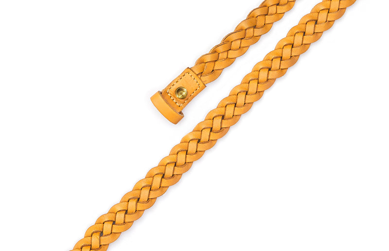 Top view of the hand braided Ivy women's leather belt in yellow / YELLOW