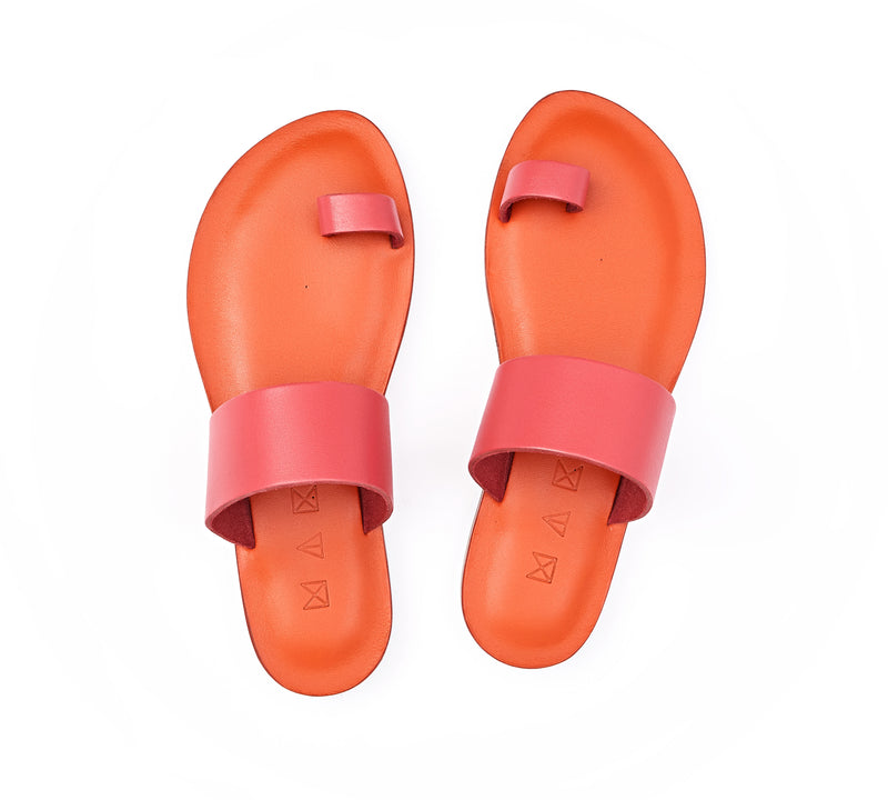 Top view of the handmade Root women's slip-on leather sandals in orange insole with pomegranate straps / POMEGRANATE