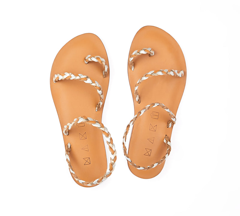 Top view of the handmade Salt women's braided slingback leather sandals in natural tan insole with gold, silver and natural tan straps / GOLD SILVER