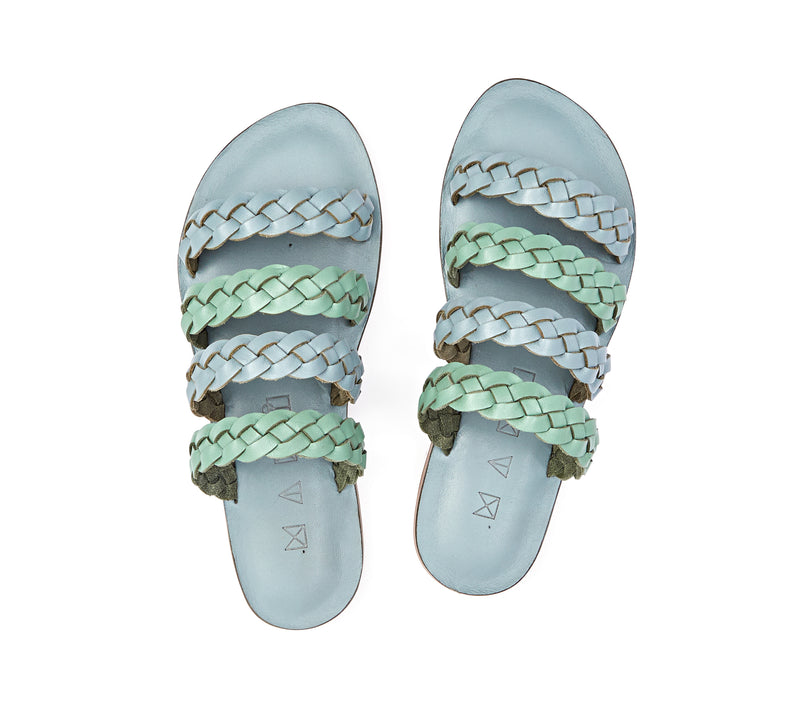 Top view of the handmade Sea women's braided slip-on leather sandals in light grey insole with light green and grey straps / GREY GREEN