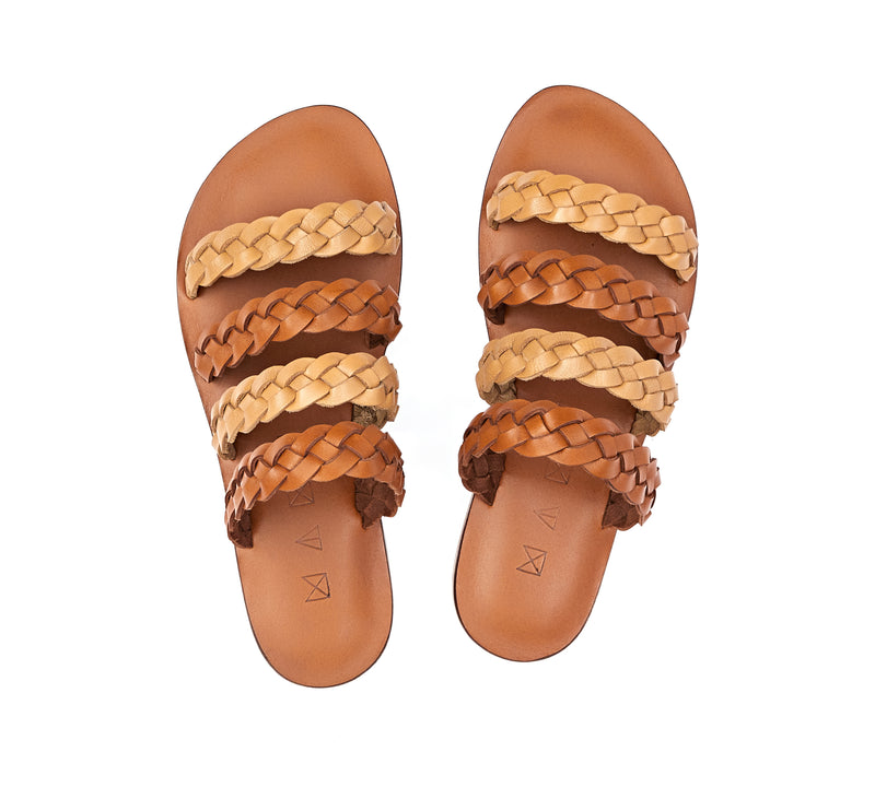 Top view of the handmade Sea women's braided slip-on leather sandals in light brown insole with natural tan and light brown straps / TAN BROWN