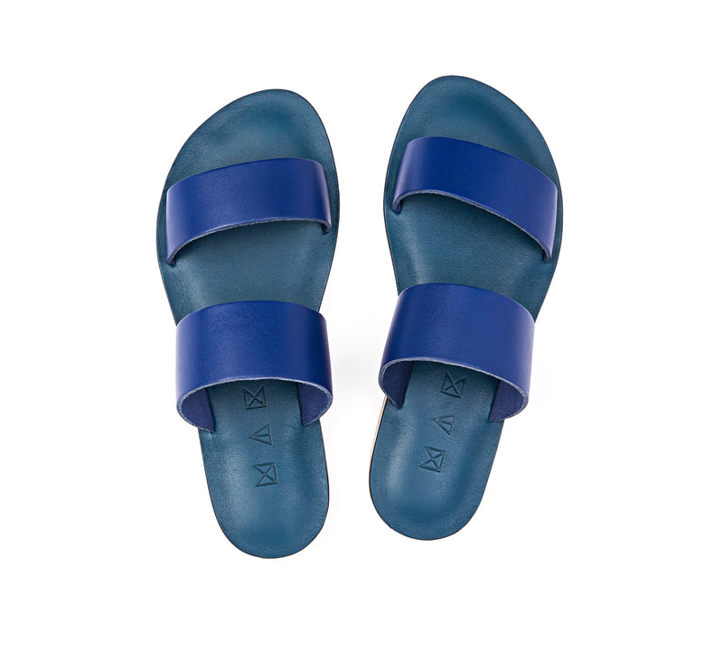 Top view of the handmade Sun women's slip-on leather sandals in night blue / BLUE