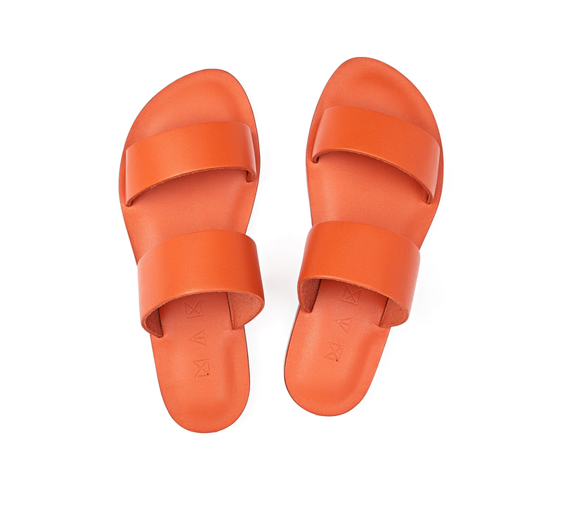 Top view of the handmade Sun women's slip-on leather sandals in orange / ORANGE