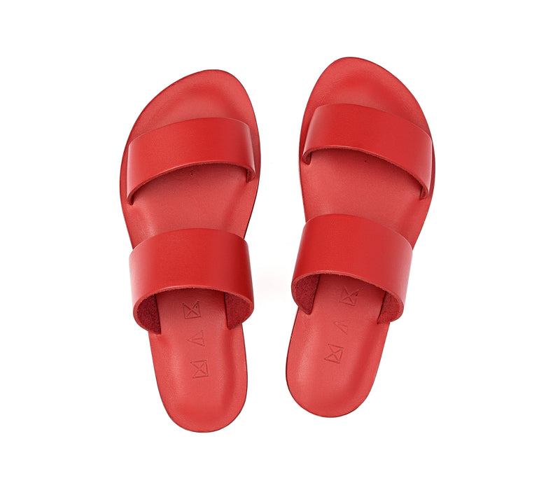 Top view of the handmade Sun women's slip-on leather sandals in red / RED