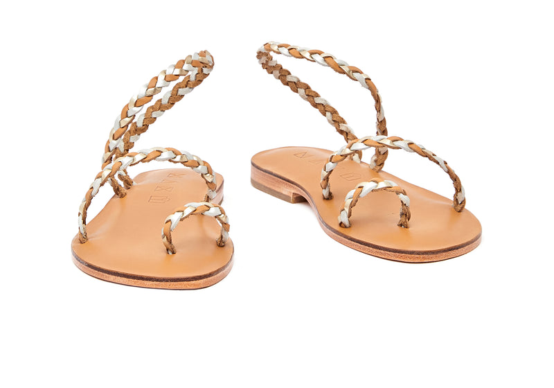 Front view of the handmade Salt women's braided slingback leather sandals in natural tan insole with gold, silver and natural tan straps / GOLD SILVER